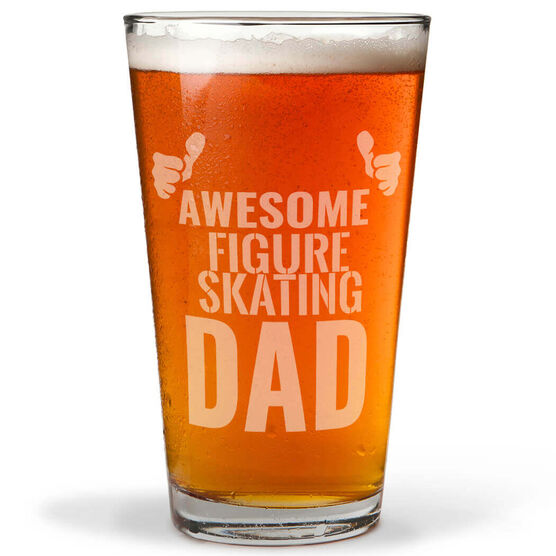16 oz. Beer Pint Glass Awesome Figure Skating Dad