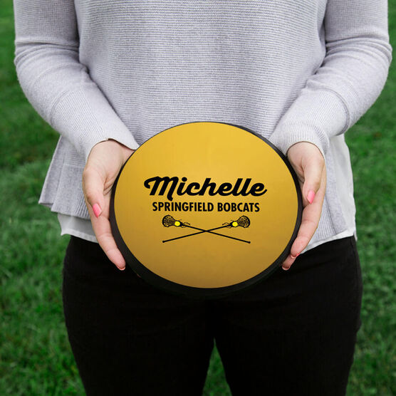 Girls Lacrosse Circle Plaque - Ball With Text