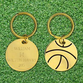 Engraved Basketball Brass Keychain