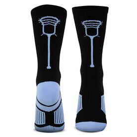 Guys Lacrosse Woven Mid-Calf Socks - Single Stick (Black/Carolina Blue)