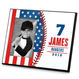 Baseball Photo Frame Baseball Stitch USA Flag (Horizontal)