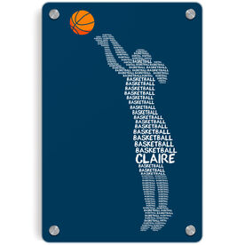 Basketball Metal Wall Art Panel - Personalized Words Girl