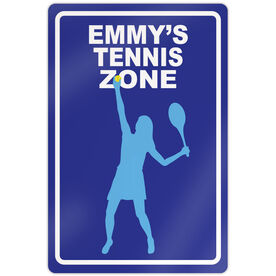 "Tennis Aluminum Room Sign Personalized Tennis Zone Girl (18"" X 12"")"