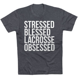 Lacrosse Short Sleeve T-Shirt - Stressed Blessed Lacrosse Obsessed