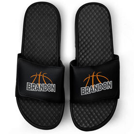 Basketball Black Slide Sandals - Basketball Lines with Name