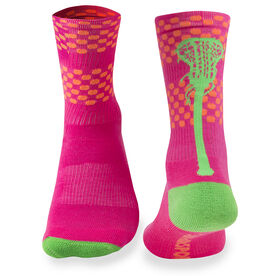 Girls Lacrosse Woven Mid Calf Socks - Aloha (Pink/Orange/Green)