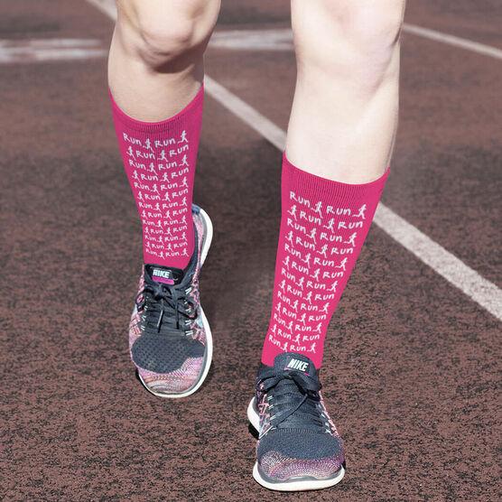 Running Printed Mid-Calf Socks - Run Girl Silhouette Pattern