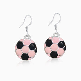 Silver Enameled Soccer Ball Earrings