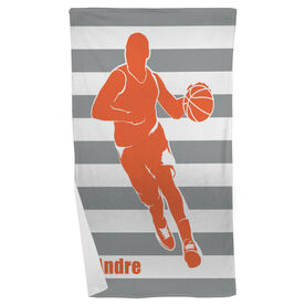 Basketball Beach Towel Stripes with Guy Silhouette