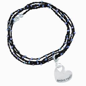 Basketball Beaded Wrap Bracelet - Basketball Sport Heart
