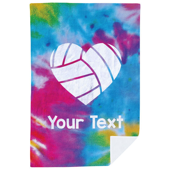 Volleyball Premium Blanket - Personalized Tie Dye Pattern with Heart