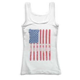 Skiing & Snowboarding Vintage Fitted Tank Top - American Flag