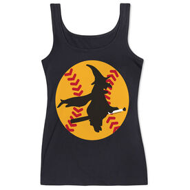 Softball Women's Athletic Tank Top Witch Riding Softball Bat
