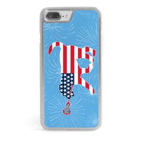 Girls Lacrosse iPhone® Case - Patriotic LuLa the Lax Dog
