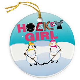 Hockey Porcelain Ornament Girl