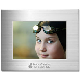 Engraved Swimming Frame Silver 5 x 7 with Swimmer Icon