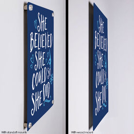 "Gymnastics 18"" X 12"" Aluminum Room Sign - She Believed She Could So She Did"