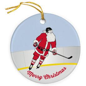 Hockey Porcelain Ornament Slap Shot Santa