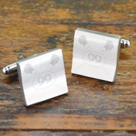 Crossed Lacrosse Sticks with Number Cufflinks