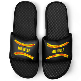 Softball Black Slide Sandals - Personalized Stitches