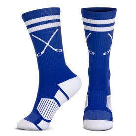 Hockey Woven Mid-Calf Socks - Classic Stripe Crossed Sticks (Royal/White)