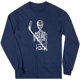 Hockey Long Sleeve T-Shirt - Skeleton (White)