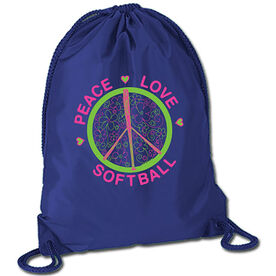 Peace Love Softball (Flowers) Sport Pack Cinch Sack