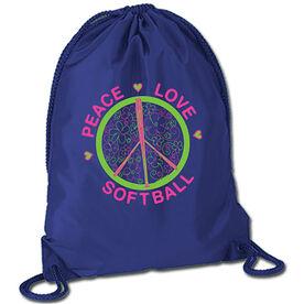 Peace Love Softball (Flowers) Sport Pack Cinch Sack