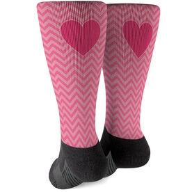 Printed Mid-Calf Socks - Valentine Chevron