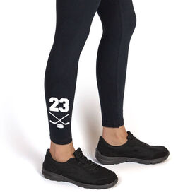 Hockey Leggings - Crossed Sticks With Number