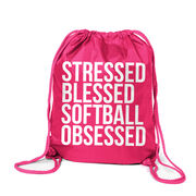 Softball Sport Pack Cinch Sack - Stressed Blessed Softball Obsessed
