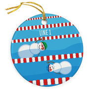Swimming Porcelain Ornament Snowman Father and Child