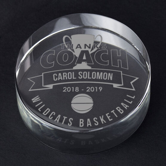 Basketball Personalized Engraved Crystal Gift - Thanks Coach Banner
