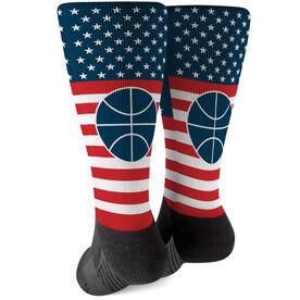 Basketball Printed Mid-Calf Socks - USA Stars and Stripes