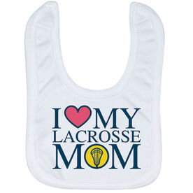 Girls Lacrosse Baby Bib - I Love My Lacrosse Mom