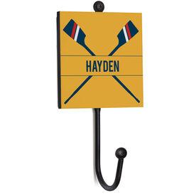 Crew Medal Hook - Crossed Oars With Name