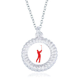 Golf Braided Circle Necklace - Male Player Silhouette