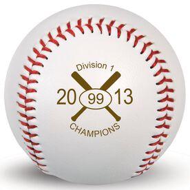 Baseball Crossed Bats Laser Engraved Baseball