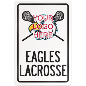 "Lacrosse Aluminum Room Sign Custom Guys Lacrosse Logo with Team Name (18"" X 12"")"