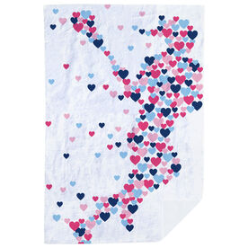 Girls Lacrosse Premium Blanket - Girls Lacrosse Sherpa Fleece Blanket Lax Girl Running Hearts