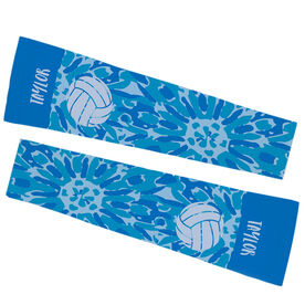 Volleyball Printed Arm Sleeves - Personalized Tie Dye Floral Pattern with Volleyball