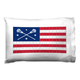 Guys Lacrosse Pillowcase - American Flag Words