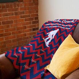 Snowboarding Premium Blanket - Personalized Thanks Coach Chevron