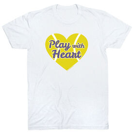 Tennis Tshirt Short Sleeve Play With Heart in Purple Glitter