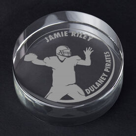 Football Personalized Engraved Crystal Gift - Customized QB