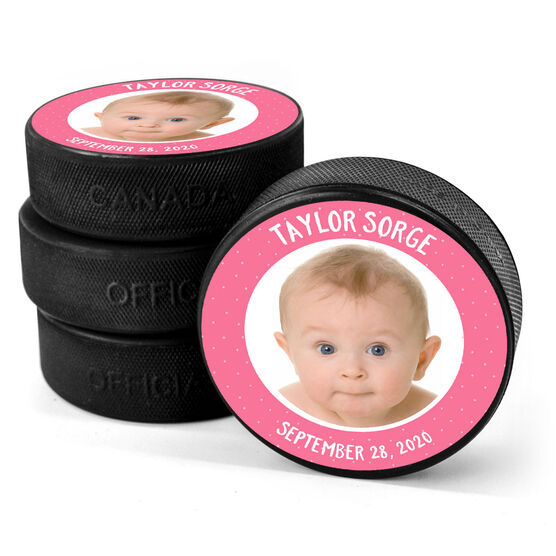Personalized Hockey Puck - Baby Girl Photo with Text