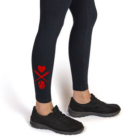 Softball Leggings Heart Crossed Softball Bats