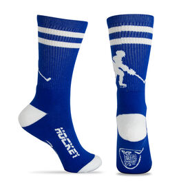 Hockey Woven Mid-Calf Socks - Player (Royal Blue/White)
