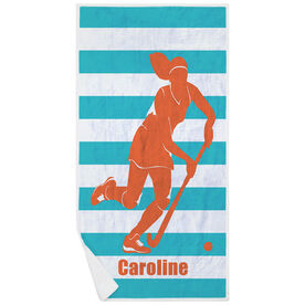 Field Hockey Premium Beach Towel - Stripes with Girl Silhouette