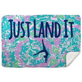 Gymnastics Sherpa Fleece Blanket - Just Land It